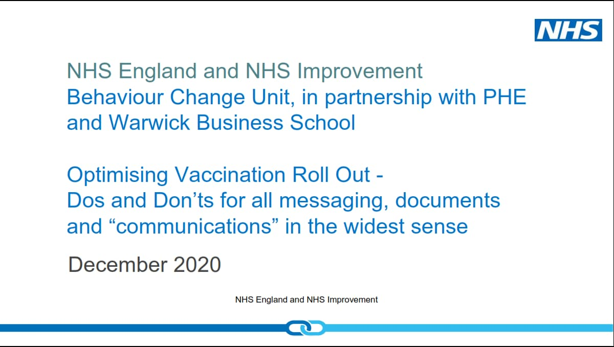 A slide from an NHS document explaining behavioural change strategies for increasing vaccination uptake