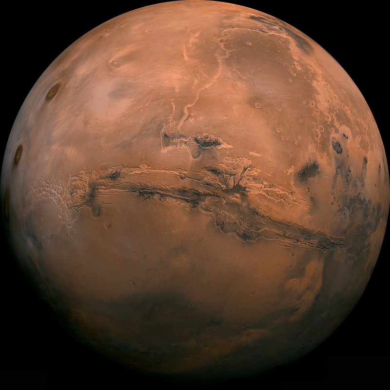 The Valles Merineris, a colossal canyon on the surface on Mars